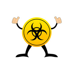 Bio-hazard symbol on a yellow button