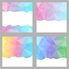 Modern crystal structure bright backgrounds set