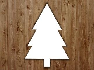 Weihnachtsbaum auf Holzbrettern