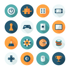 Set of vector flat design concept icons for games