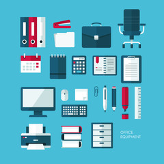 Set of vector flat design concept icons of office equipment