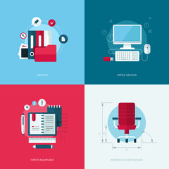 Set of vector flat design icons of office equipment and devices