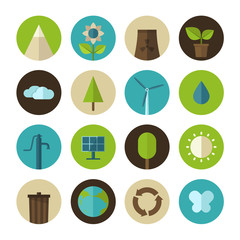 Set of vector flat design icons for ecology and environment
