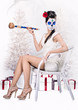 Day of the dead girl with tobacco pipe