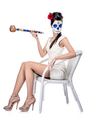 Day of the dead girl isolated on white