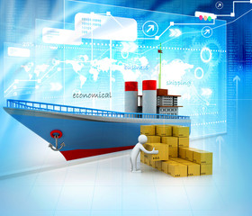 Cargo shipping digital illustration