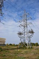 Electric pylon sunlit