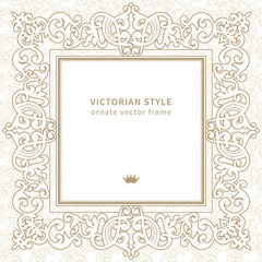Vector lace frame in Victorian style.