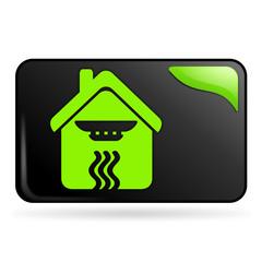 détecteur de fumée sur bouton web rectangle vert