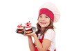 little girl cook with sweet raspberry cake