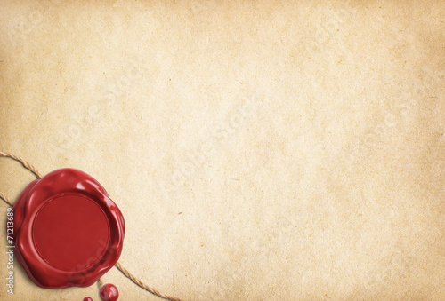 Old parchment paper or letter with red wax seal - 71213689