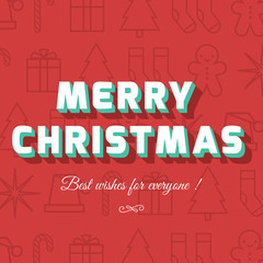 Merry Christmas card with christmas icon and symbol