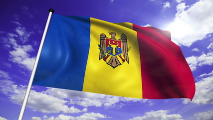 flag of Moldova with fabric structure against a cloudy sky
