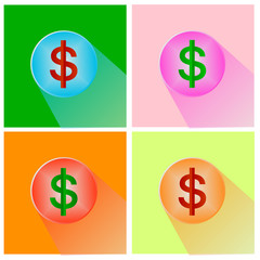 Dollars sign icon. USD currency symbol. Money label