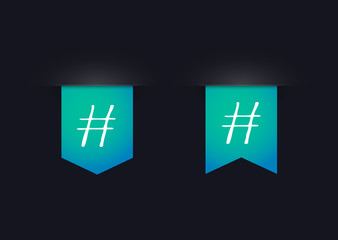 Ribbon icon set with a hashtag