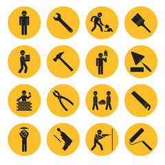 Yellow Circle Construction and Building Icons