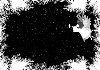 Black and white Christmas background with angel