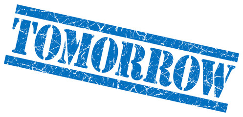 tomorrow blue square grunge textured isolated stamp