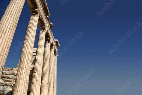 Poster Athene Ruins isolated on blue sky with copy-space