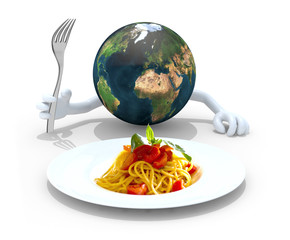world with hands, fork in front of a spaghetti dish
