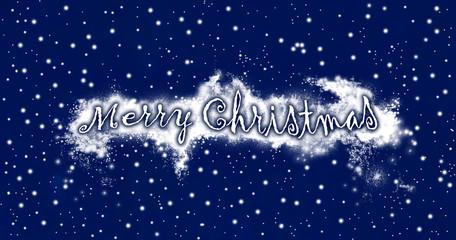 Merry Christmas on snowy blue sky background