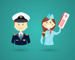 Professions- pilot and flight attendant