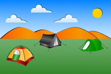 Illustration of 3 tents in a field