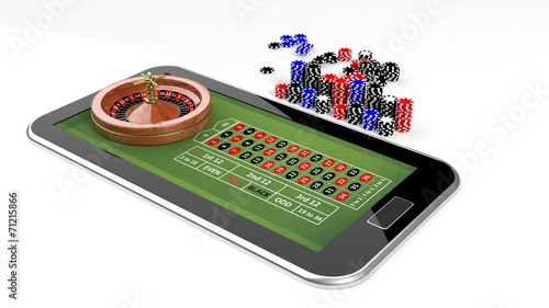 Online casino concept with tablet, roulette and chips isolated - 71215866
