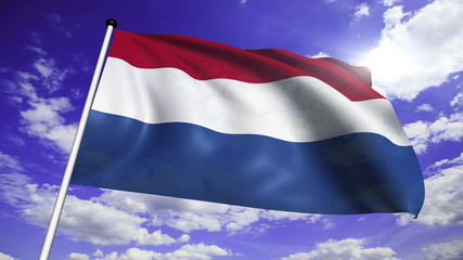 flag of Netherlands with fabric structure against a cloudy sky