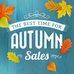 autumn sales business poster on blue wood background