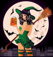 Halloween sale. Sexual urban witch with shopping bags