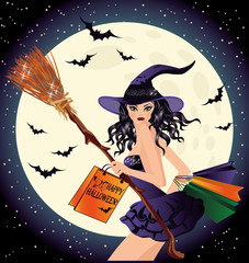Halloween sale. Sexy witch and shopping bags