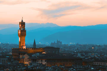 Florence, palazzo Vecchio on a sunset