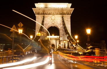 Chain bridge at night with cars, Budapest