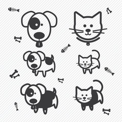 Cat and Dog icons. illustration eps10