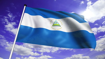flag of Nicaragua with fabric structure against a cloudy sky