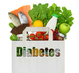 Fototapety Paper bag with the word diabetes filled with healthy foods