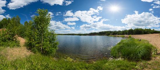 Pond with sun