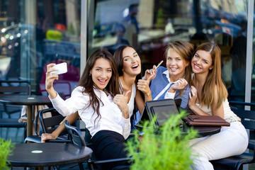 Selfie Five happy women