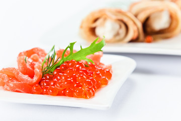 red caviar and salmon