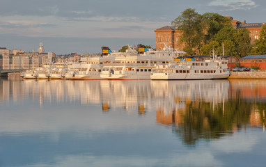 Boats in harbour in Stockholm.