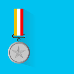 Vector illustration of silver medal, flat design