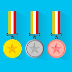 Vector illustration of gold medal gold medal and copper medal, f