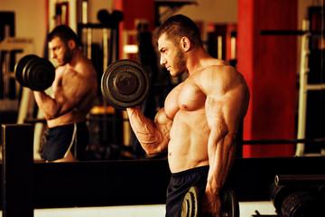 bodybuilder training gym, biceps curls