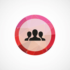 team circle pink triangle background icon.