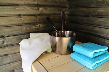 Dark wooden Finnish sauna