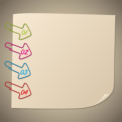 Arrow shape paper clip infographic