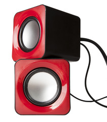 red audio speaker isolated on white background