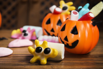 Candies with pumpkins in Halloween festivities