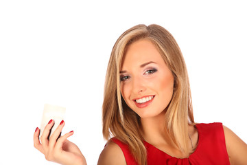 Attractive blonde with credit card in hand